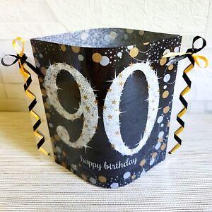 Tischdeko Windlicht Aus Servietten Happy Birthday 90 Geburtstag