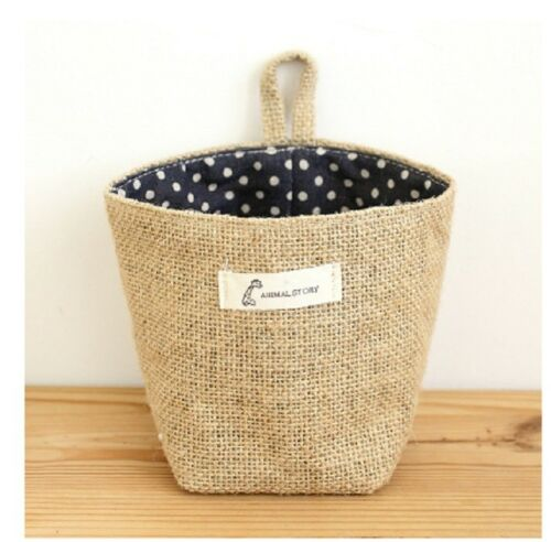 Zakka Style Storage Box Jute with Cotton Mini Basket Desktop Hanging Bag