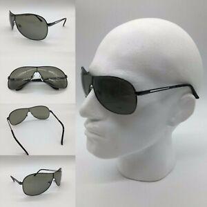 Men's Grey Lens Gun Metal Frame Shield Visor Sunglasses 100% UV 400