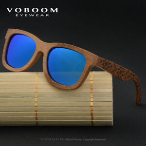 54d194288be Image is loading VOBOOM-Carbonize-Bamboo-Sunglasses-Polarized-Mirrored- Carving-Frame-