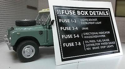 Land Rover Series 3 BL Steering Column Fuse Box Details Sticker 3