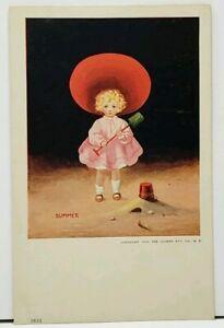 Bernhardt-Wall-Summer-Girl-with-Sand-Bucket-amp-Shovel-1906-Postcard-H10