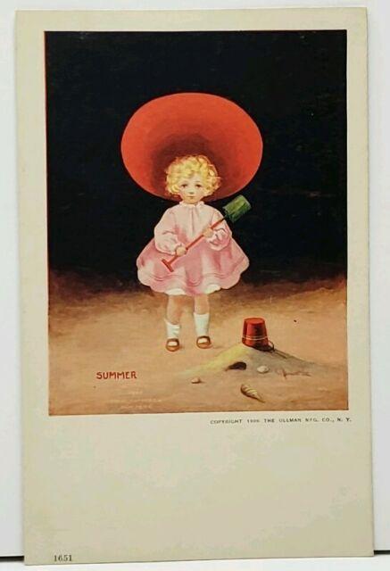 Bernhardt Wall Summer Girl with Sand Bucket & Shovel 1906 Postcard H10