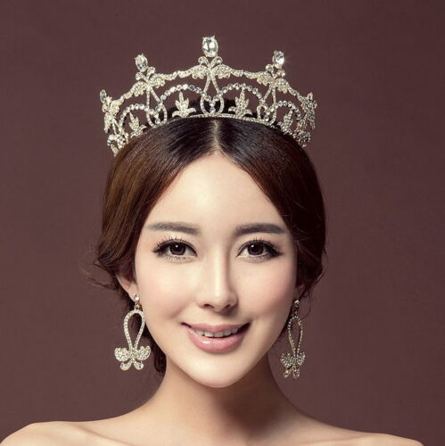 7cm High Crystal Tiara Earrings Set Wedding Party Pageant Prom Crown 2 Colours
