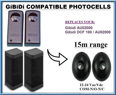 DCF 180 compatible PHOTOCELLS 12-24 VAC//DC infrared safety beam Gibidi AU02000