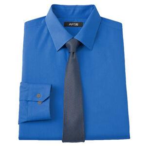 New-APT-9-Men-039-s-Slim-Fit-Spread-Collar-Dress-Shirt-Blue-Skinny-Tie-MSRP-55