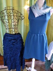 lot-3pieces-bleutees-femme-t-40-42-robe-neuve-jupe-volants-et-echarpe-voile