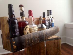 Wooden Wall Mount Shelf Barrel Stave Rack Whiskey Wine