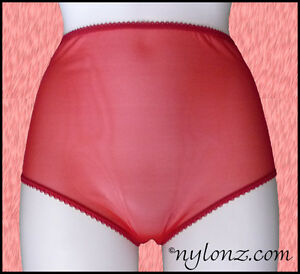 Vintage-Style-Completely-Sheer-Transparent-Nylon-FULL-CUT-Panties-RED