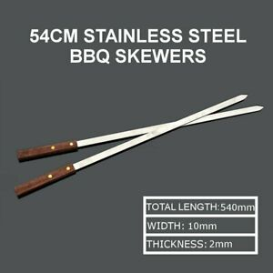 6Pcs-54CM-Stainless-Steel-Wire-BBQ-Skewers-Wood-Handle-Grill-Roasting-Sticks