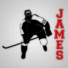 Hockey player wall decals,vinyl wall Hockey silhouette sticker name decal