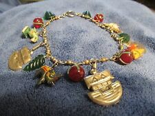 Noah's Ark Mixed Materials Charm Bracelet - Vintage Glass, Wood and Metal