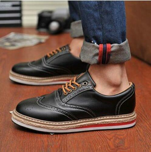 NEW Men/'s Patent Leather Lace Up Platform Brogues Shoes Creeper Sneakers US Size