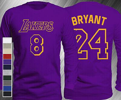 KOBE BRYANT JERSEY #8 #24 Long Sleeve T-Shirt Los Angeles Lakers ...