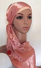 FOULARD ECHARPE CHECHE + BONNET  (chimio-perte cheveux) SOIERIE DE LYON  hijab
