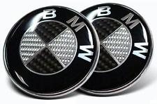 2 Pack BMW Roundel Black Carbon Fiber 82MM OEM SIZE HOOD 3 5 7E30 E46 E60 MORE