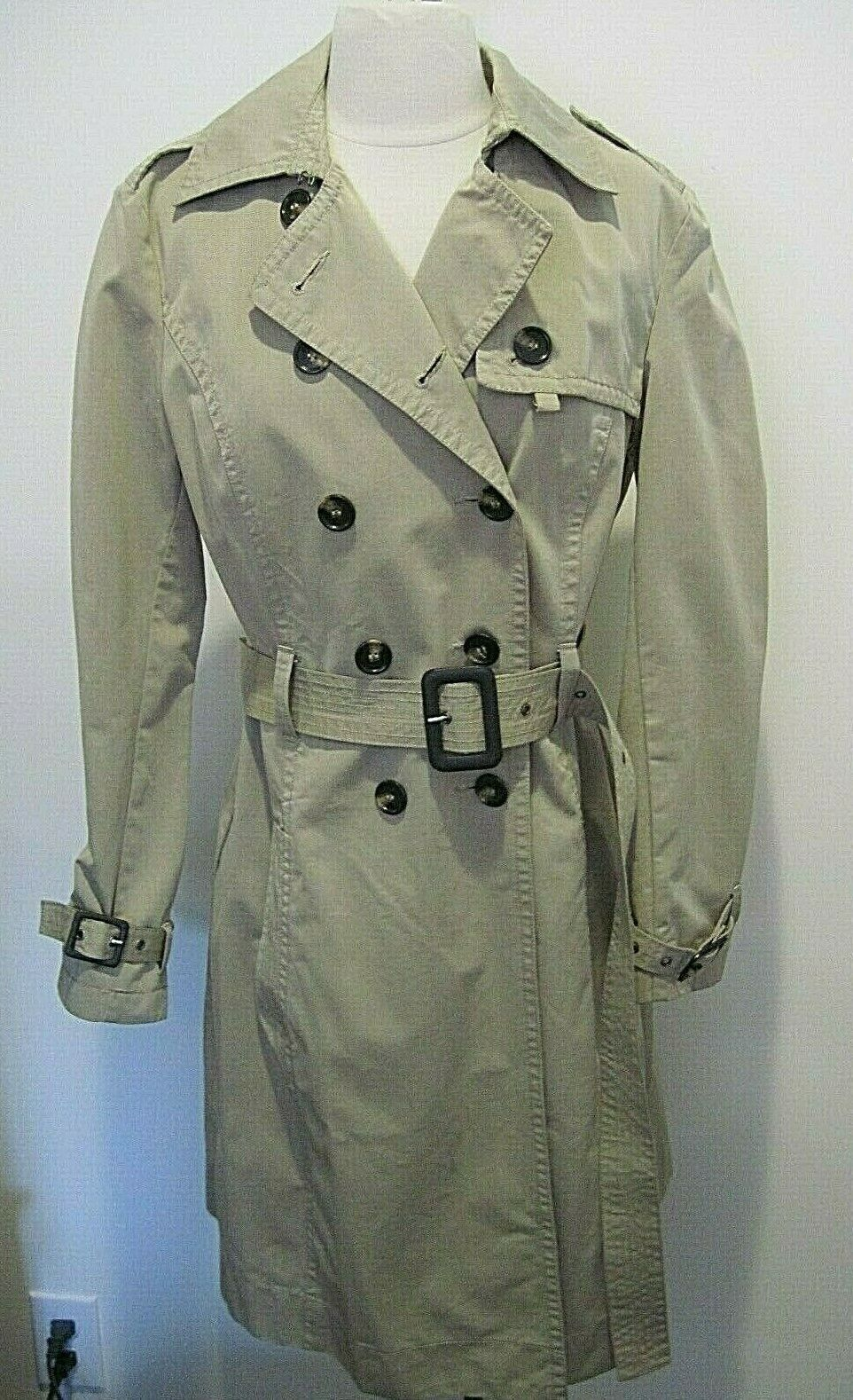 Vintage Seven 7 for all Mankind Light Taupe Cotton Blend Trench Coat Size M