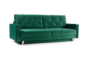 Details Zu Elegante Couch Mit Schlaffunktion Big Sofa Schlafsofa Wohnzimmer Velour Grun