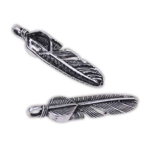5 pcs Tibetan Style Feather Pendant Charm Feather Design Findings fit Necklace