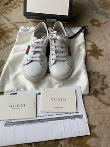 8f7c3601e Gucci Ace Leather Boy/Girl's Sneakers Shoes White /Green/Red Web ...