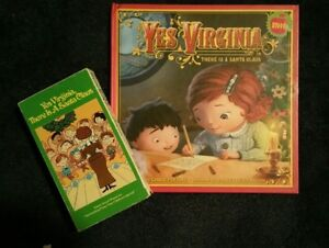 034-Yes-Virginia-There-Is-a-Santa-Claus-034-VHS-amp-BOOK-LOT-GREAT-DUO-CHRISTMAS
