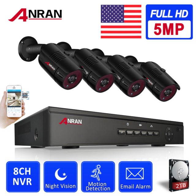 ANRAN Full 1080P 8CH NVR Outdoor Security Camera PoE Repeater System 1TB HDMI HD