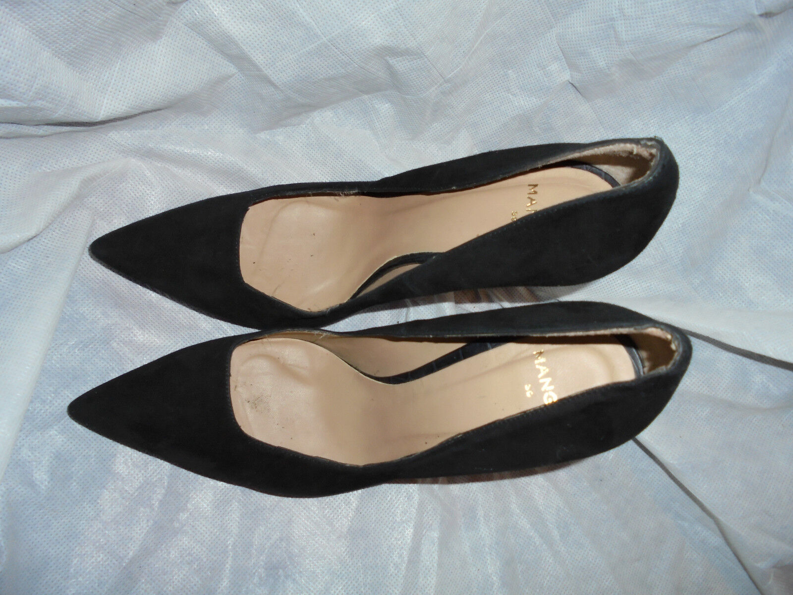 MANGO WOMEN'S BLACK SUEDE Schuhe LEATHER SLIP ON HEEL Schuhe SUEDE  SIZE UK 6 EU 39 VGC ab83fa