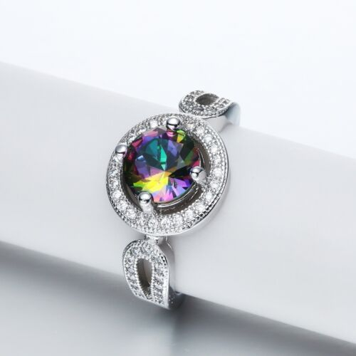 Women Fashion 925 Silver Rainbow topaz Ring Wedding Engagement Jewelry