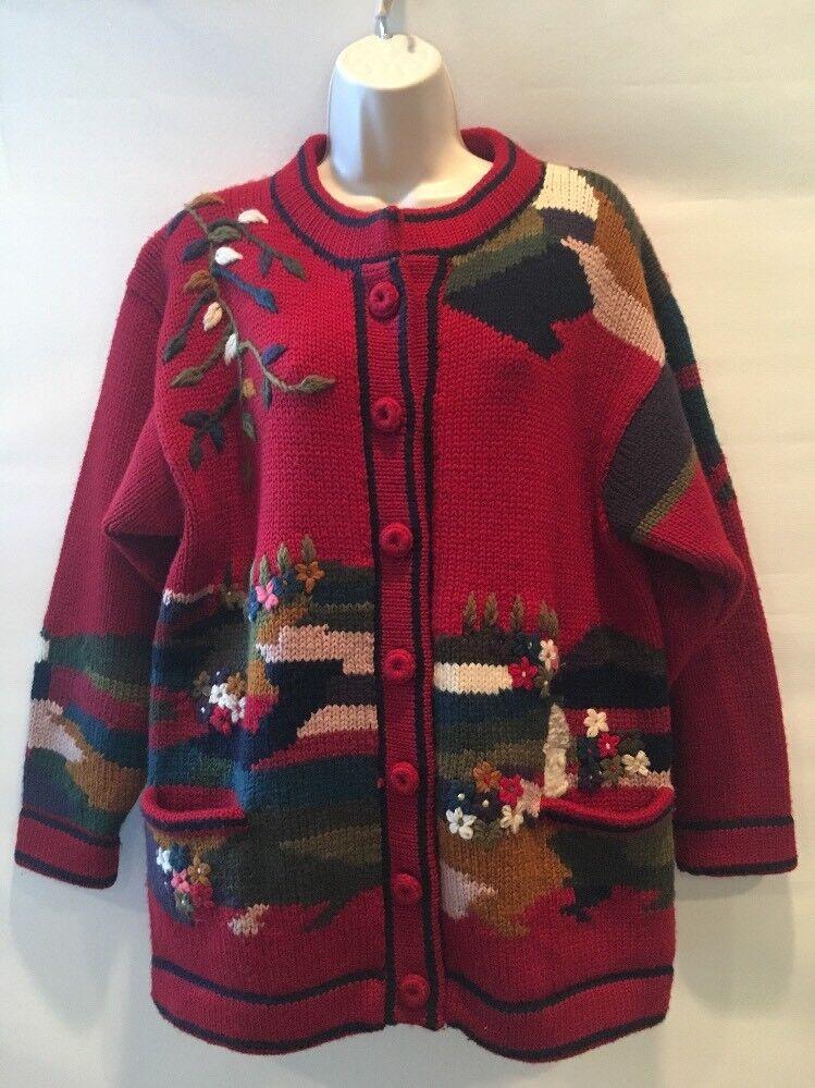 aa8f7d1ee9 Nordic Design Bergen Norway Wool Cardigan Sweater Womens Small House Flower  Tree