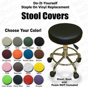 Bar Stool Cover Faux Leather Vinyl Staple On Seat Top