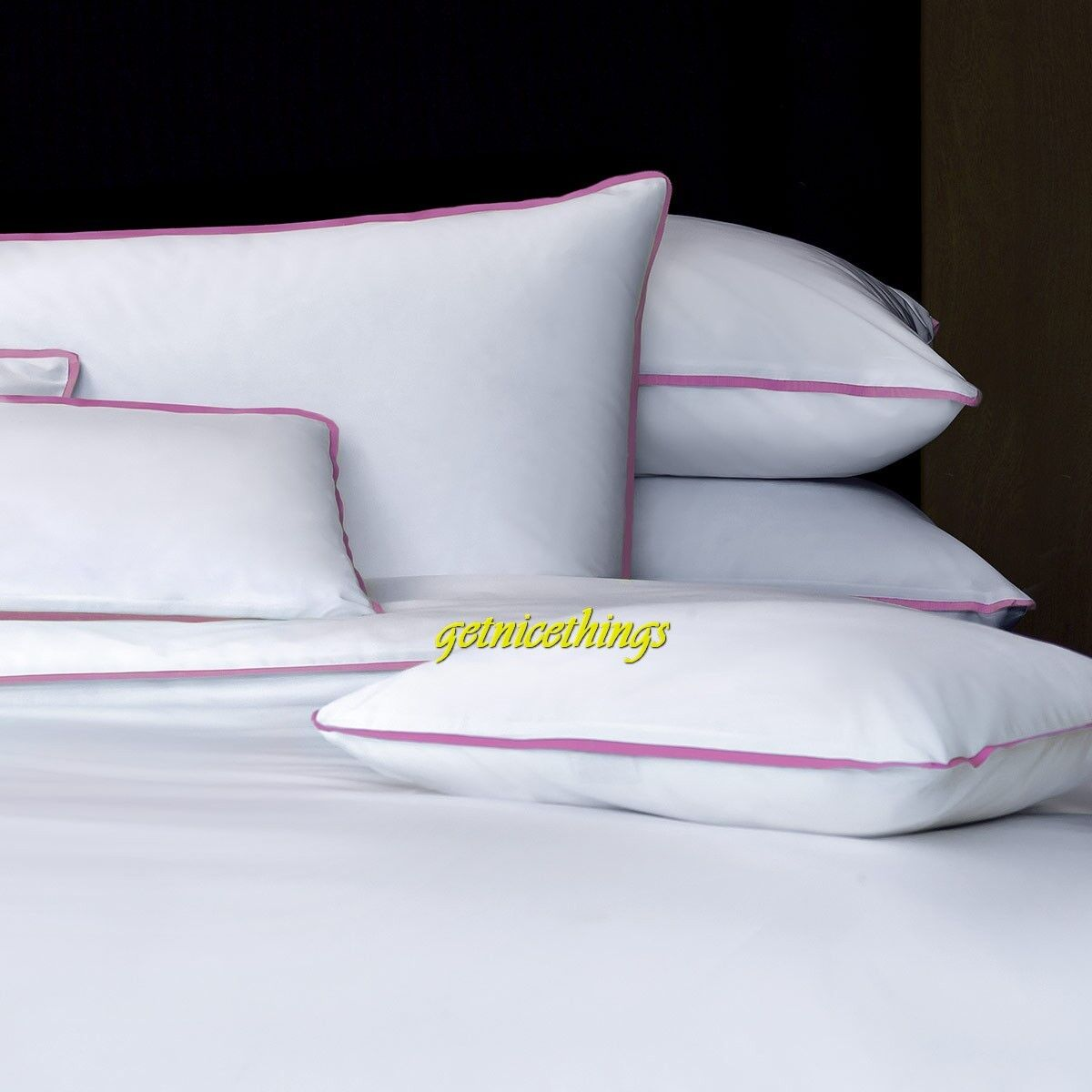 Yves Delorme Amity All White King Duvet Cover Pink Ribbon Trims Cotton NEW  480