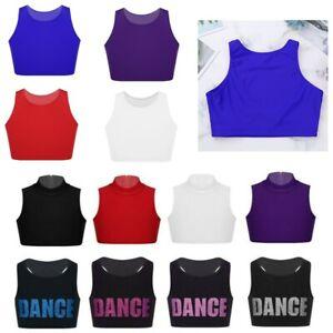 Girls-Dance-Crop-Top-Kids-Gymnastics-Stretch-Tank-Tops-Racer-Back-Vest-Dancewear
