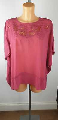 NEW EX Debenhams RJR Pink Floral Embroidered Flare Wide Sleeve Kimono Size 8-24