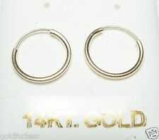 Pure 14Kt Solid Yellow Gold Thin 12MM Endless Hoop Earrings.....100% Guaranteed!