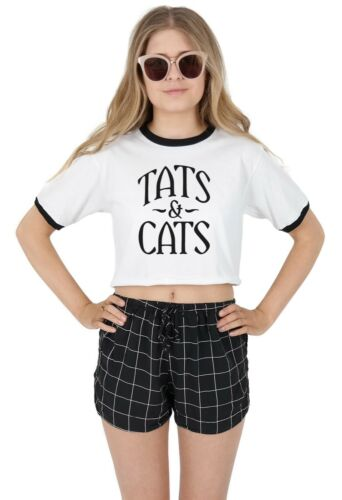 Tats and Cats Ringer Crop Top Funny Cat Cats Lover Tattoo Tattoos Obsessed Gift