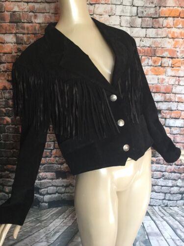 Womens Pioneer Wear Black Suede Fringe Crop Wester