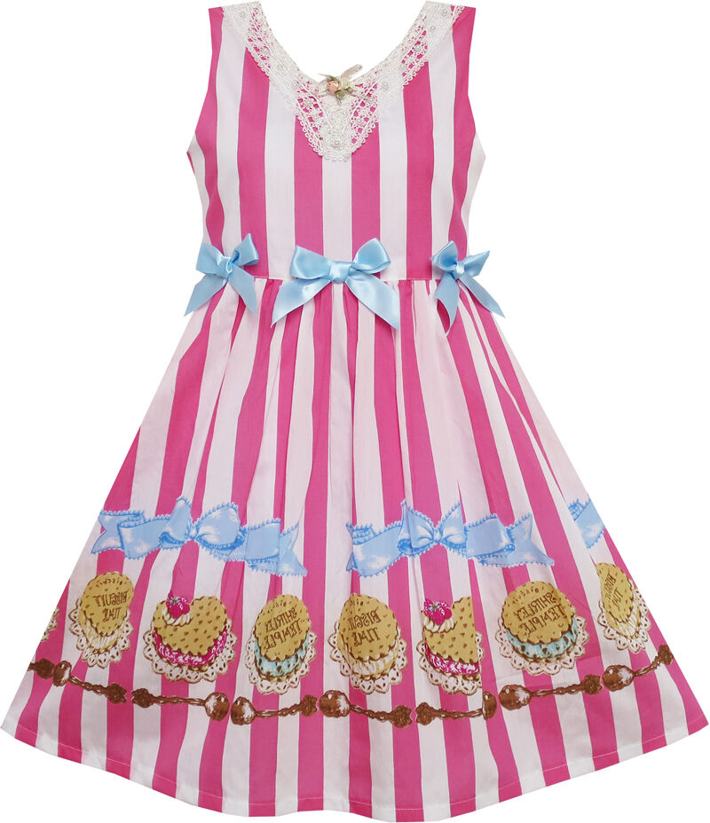 US STOCK Girls Dress Striped Cookie Print Bow Tie Lace Trim Pink Size 4-10