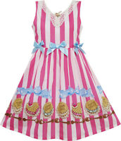 Girls Dress Striped Cookie Print Bow Tie Lace Trim Pink Size 4-10 Us Seller