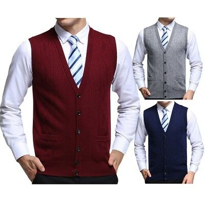 Pop Men's Sleeveless Sweater Retro Knitted Vest Jacquard Buttons Cardigan Tops