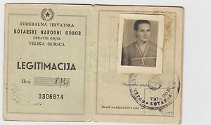 YUGOSLAVIA- CROATIA-FEDERAL CROATIA-PARTISANS-IDENTITY CARD 1946 Velika Gorica !
