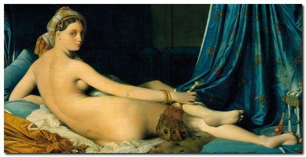 Quadro Jean-Auguste-Dominique Ingres 'Grande Odalisque ' Stampa su su su Tela Canvas 002e00