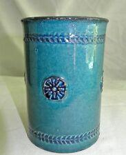 "Vtg Baldelli Pottery Italy Container Jar Vase Speckled Turquoise & Medallions-5"""