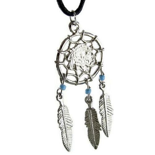 Indian Chief Head Charm Dream Catcher Perles pendentif dreamcatcher Collier Tour de cou