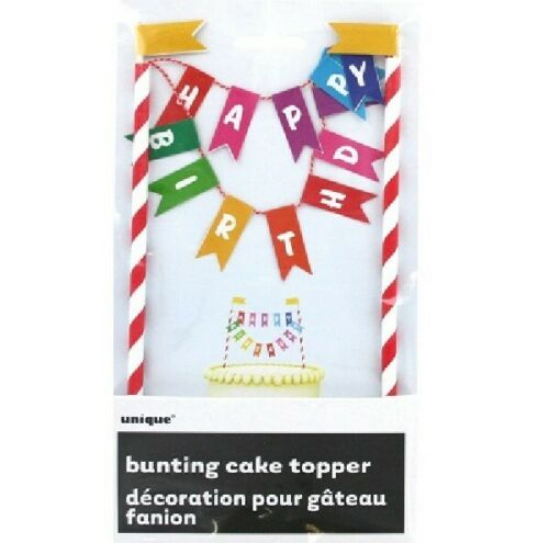 Bunting Happy Birthday Cake Topper  Party Celebrations Decoration Male Female