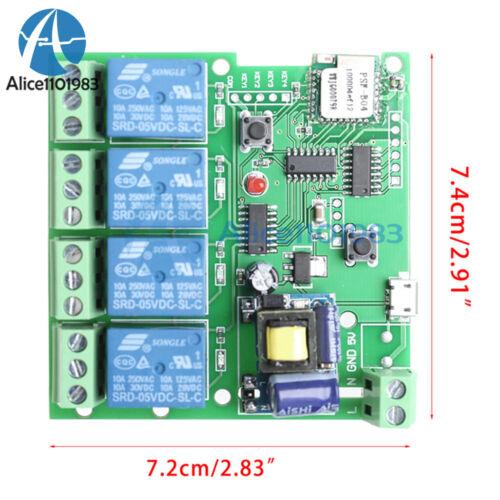 AC 220V//DC 5-32V 4 Channel  WiFi Wireless Delay Relay Switch Remote Control APP