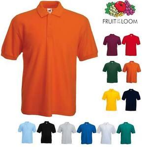 Polo-Fruit-Of-The-Loom-Uomo-Manica-Corta-100-Cotone-Pettinato-3-Bottoni-Man
