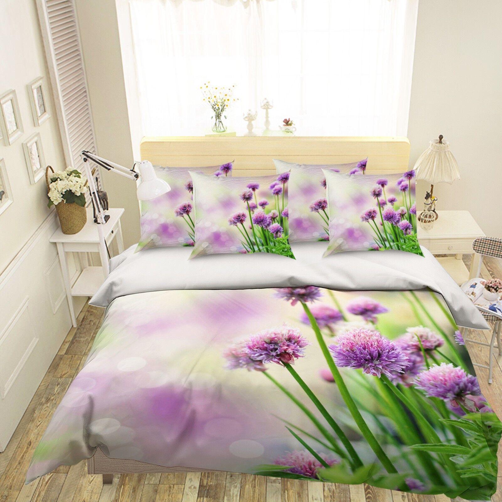 3D Purple Flower 451 Bed Pillowcases Quilt Duvet Cover Set Single Queen King AU