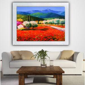 Dettagli su QUADRI paesaggio toscana olio su tela DIPINTI A MANO con  cornice italiano