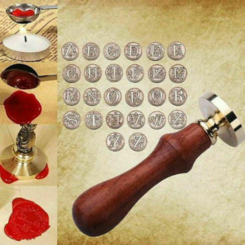 Letter 26 Retro Wood Sealing Wax Classic Initial Wax Seal Stamp Alphabet New