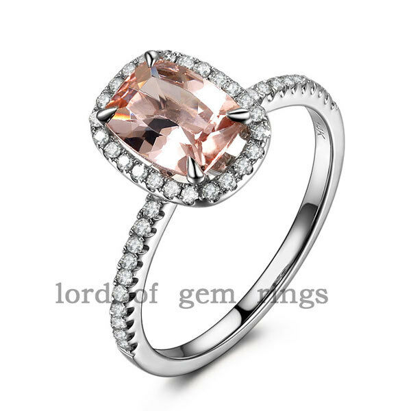 Cushion Cut 6x8mm Morganite and Diamonds 14K White gold Claw Prongs Wedding Ring